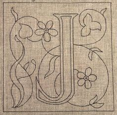 J shape for embroidery.