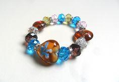 pulsera en todo cristales de muranos diseño de color beads.