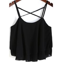 SheIn(sheinside) Black Spaghetti Strap Loose Chiffon Cami Top (215 CZK) ❤ liked on Polyvore featuring tops, shirts, tank tops, blusas, crop tops, black, chiffon shirt, black loose tank top, chiffon tank top and black crop tank