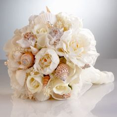 A Day At the Beach Bouquet--seashells and florals