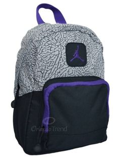 8af5499a531d Nike Air Jordan Backpack Gray Black Purple Toddler Preschool Boy Girl Small  Mini