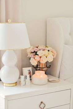 Afloral Silk Flowers & The Best Ginger Jar Vases. master bedroom makeover, white tufted bed, white a White Tufted Bed, White Bedding, Master Bedroom Makeover, Master Bedrooms, Bedroom Makeovers, Bedroom Night Stands, Night Stand Decor, Home Decor Bedroom, Bedroom Ideas
