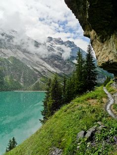 Trail beside Oeschinen Lake in Bernese Oberland, Switzerland