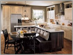 Image result for straight kitchen with island dining table