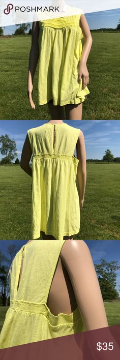 """Anthropologie Chartreuse Tank w/ Chenille Yoke  XL Anthropologie Chartreuse Tank w/ Chenille Yoke  XL 40"""" bust, 28"""" length - Sooooo cute!! Buy it quick before I take the tags off and put it in my personal closet 🌸🌈🌞 Anthropologie Tops Tank Tops"""