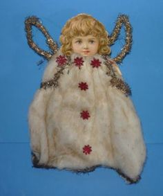 Antique Cotton Scrap Tinsel Angel Ornament | eBay
