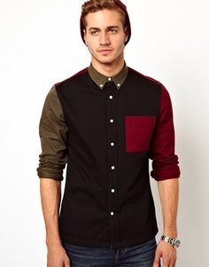 ASOS Twill Shirt in Long Sleeve with Colour Block