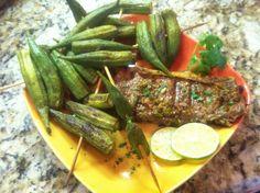 Jalapeno Steak with Okra on a stick | fastPaleo Primal and Paleo Diet Recipes