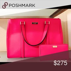 Authentic Kate Spade handbag Large, Hot Pink and near new handbag with matching wallet. Sold as a set only. kate spade Bags Satchels