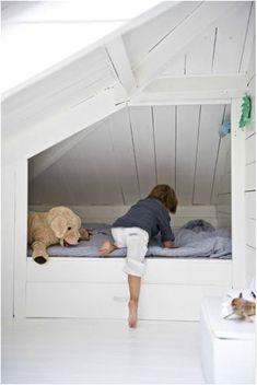 Trendy Bedroom Attic Kids Built In Bed Attic Spaces, Kid Spaces, Trendy Bedroom, Girls Bedroom, Alcove Bed, Kb Homes, Built In Bed, Attic Bedrooms, Building For Kids