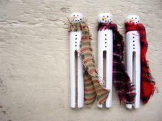 Snowmen Clothespins