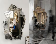 A shattered shape is what defines this unusual art mirror from Portuguese company Boca Do Lobo. The Venice mirror features a signature silhouette inspired by classical architecture, framed in reflective floral details that bring us back to a more romantic era. The carefully crafted bevel work, silvering and glass details make this mirror a real thing of beauty. Alas, it is broken and pieced back together in twisted way that gives it its contemporary edge.