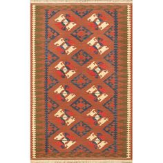 Hand-woven Ottoman Kilim Copper Wool Rug (8' x 10') only $288