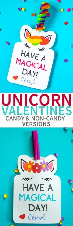 Unicorn Valentines Candy and Non-Candy Versions