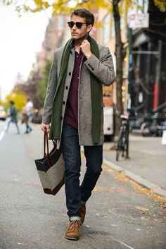 Great coat and autumn colors. Mens fall/winter style. Adam Gallagher.