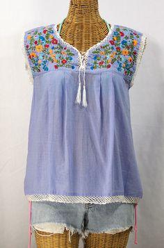 "Siren ""La Marbrisa"" Embroidered Sleeveless Peasant Blouse Top -Periwinkle   Fiesta $52.95"
