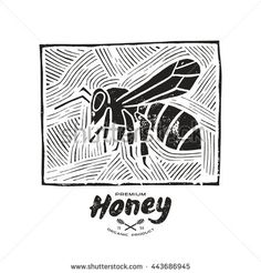 Stock vector linocut with a picture of bee and honey label. Black print on white background
