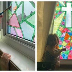 Paint your own stained glass windows - Crafty Morning Bunny Rabbit Handprint Craft For Kids (Easter Household Cleaning Tips, Diy Cleaning Products, Bunny Crafts, Easter Crafts, Easter Egg Dye, Easter Bunny, Crafts For Kids To Make, Science Experiments Kids, Window Art