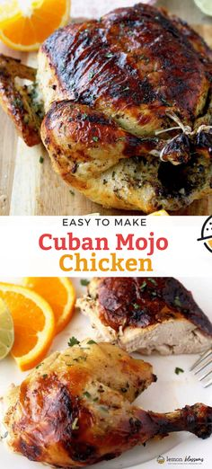 This easy to make Cuban Mojo chicken is marinated with the best fresh homemade Mojo marinade, then roasted until perfectly juicy and golden brown Loaded with lots of great flavor, this Cuban recipe is always a favorite! Mojo Chicken, Lemon Chicken, Cuban Chicken, Kitchen Recipes, Cooking Recipes, Healthy Recipes, Cuban Recipes, Dinner Recipes, Food Dinners