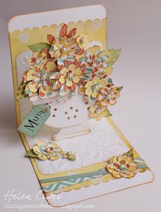The Dining Room Drawers: Flower Birthday Card - Tim Holtz  Tattered Flower Garland  + Tattered Florals http://diningroomdrawers.blogspot.co.uk/2013/02/flower-birthday-card.html#