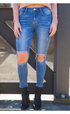 Distressed Skinny Jeans Denim - New Arrivals