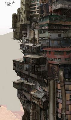 'Babel' by Nivanh Chanthara. Dirty, piled up and ever ascending, it implies the high tech and low life of cyberpunk. 'Babel' by Nivanh Chanthara. Dirty, piled up and ever ascending, it implies the high tech and low life of cyberpunk. Cyberpunk City, Ville Cyberpunk, Cyberpunk Kunst, Futuristic City, Futuristic Architecture, Residential Architecture, Cyberpunk Anime, Japanese Architecture, Landscape Architecture