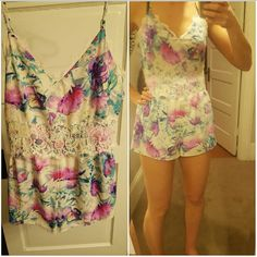 Floral Festival lace Romper Great condition. Forever 21 Pants Jumpsuits & Rompers