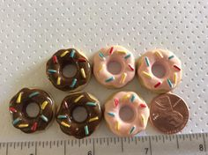 6 Detailed Sprinkled Doughnut Cabochon by creationandsupplies, $4.25