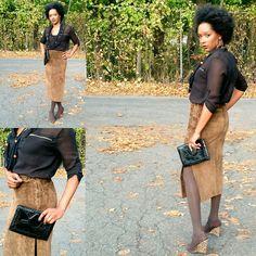 Kaderique - Suede Pencil Skirt Outfit
