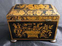 fine 1820's sarcophagusshaped two compartment tea caddy on bun feet decorated in penwork - photo angle #14