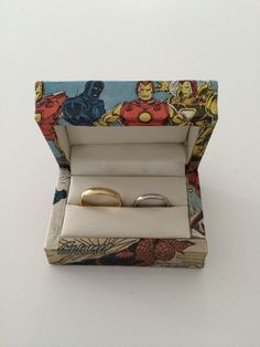 Double Wedding Ring Box  Superheroes Double ring box  by FunFonts