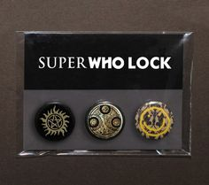 Set of 3 SuperWhoLock buttons / badges / pinbacks pack) Supernatural – Doctor Who – Sherlock fandoms from TheSqueakyGeek on Etsy. Saved to Cool Stuff. Doctor Who, Sherlock Holmes, Jim Moriarty, Sherlock John, Sherlock Fandom, Watson Sherlock, Mrs Hudson, By Any Means Necessary, Fandom Crossover