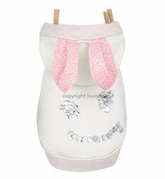 Designer Dog Clothes- Louis Dog Smiley Bunny White Pink