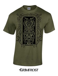 Grimfrost - T-shirt, Runestone, Army Green