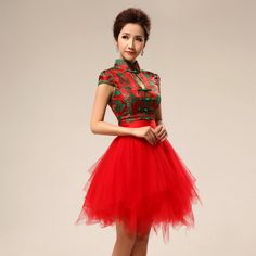 Green and red folk pattern brocade mandarin collar Chinese modern qipao cheongsam wedding dress | Modern Qipao
