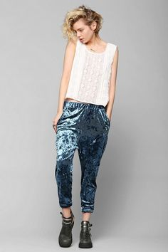 Ecoté Diamond Meadows Velvet Harem Pants Soft & stretchy crushed velvet harem pant from Ecote with a dropped inseam and a tapered leg with a cuffed hem. Velvet Pants, Clothing Items, Autumn Winter Fashion, Going Out, What To Wear, Urban Outfitters, Harem Pants, My Style, Outfits