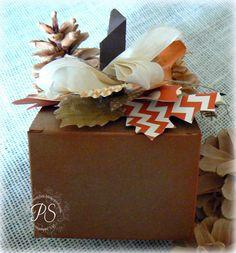 A pumpkin Kraft Gift box  stampsnsmiles.blogspot.com