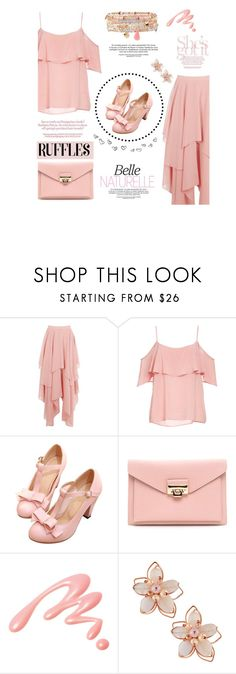 """""""Pink Ruffle"""" by hmrodeck on Polyvore featuring BB Dakota, Chantecaille, NAKAMOL and Accessorize"""