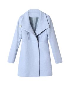 To find out about the Blue Lapel Long Sleeve Buttons Woolen Coat at SHEIN, part of our latest Outerwear ready to shop online today!