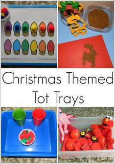 Christmas themed Tot Trays are a fun and simple way to provide toddlers with daily learning activities. Most of these activities focus on fine motor skills and early math.