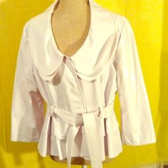"""VINYL JACKET SIZE M (NWT) White, label size is """"L"""", but it fits like a med. For the fashionista 3/4 sleeve. Never worn. Has been in the closet. Live A Little Jackets & Coats Blazers"""