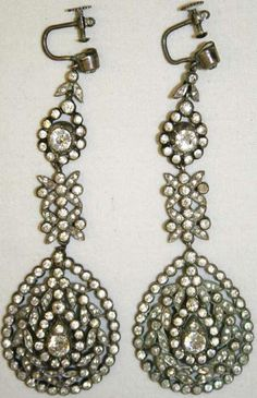 Silver and paste earrings…  paste, cut glass, was often used as a substitute for diamonds…  late 18th century