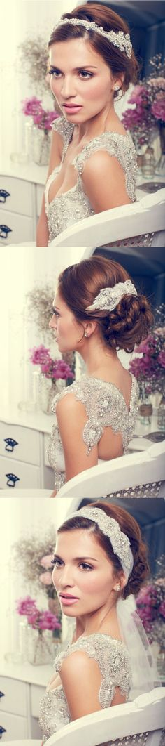 """Gorgeous Bridal Accessories from Anna Campbell... The bottom accessory I thought was really boho & Nadine-ish ;)... embellished scarf... The """"veil"""" ties underneath & hangs down..."""
