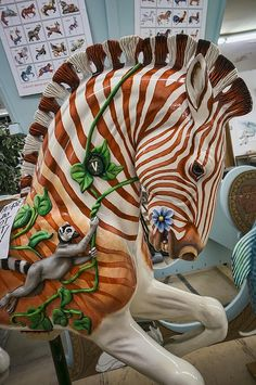A fanciful zebra produced by volunteers of the Albany Community Carousel Project in Albany, Oregon