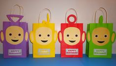 Instant Download Teletubbies Favor Bags - Teletubbies Party/ Goody/ Candy… Birthday Bag, Birthday Party Favors, 2nd Birthday Parties, Loot Bags, Party Favor Bags, Teletubbies Cake, Salon Party, Party Time, First Birthdays