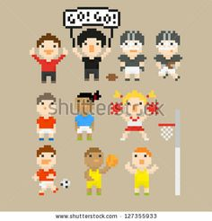 Pixel art icons with people on sport theme, raster illustration - stock photo
