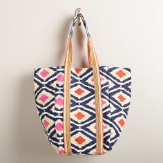 One of my favorite discoveries at WorldMarket.com: Orange and Blue Ikat Tote Bag.