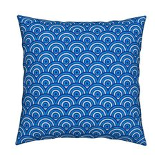 Catalan Throw Pillow featuring Rolling Tricolour Blue Waves by Cheerful…