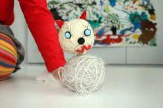 Кошка из клубков Kids craft cat yarn