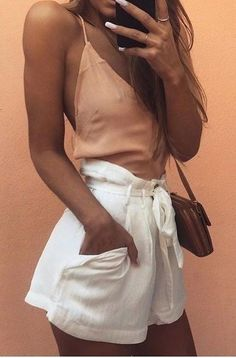 Apricot Cami + White Shorts                                                                             Source